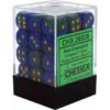 Kép 1/2 - Chessex Gemini 12mm d6 Dice Blocks with pips Dice Blocks (36 Dice) - Blue-Green w/gold