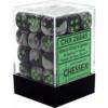 Kép 1/2 - Chessex Gemini 12mm d6 Dice Blocks with pips Dice Blocks (36 Dice) - Black-Grey w/green