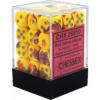 Kép 1/2 - Chessex Gemini 12mm d6 Dice Blocks with pips Dice Blocks (36 Dice) - Red-Yellow w/silver