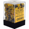 Kép 1/2 - Chessex Gemini 12mm d6 Dice Blocks with pips Dice Blocks (36 Dice) - Black-Gold w/silver