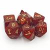 Kép 1/2 - Chessex Glitter Polyhedral 7-Die Set - Ruby w/gold