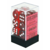 Kép 1/2 - Chessex Translucent 16mm d6 with pips Dice Blocks (12 Dice) - Red w/white