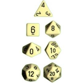 Chessex Opaque Polyhedral 7-Die Sets - Ivory w/black