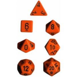 Chessex Opaque Polyhedral 7-Die Sets - Orange w/black