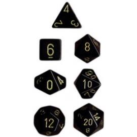 Chessex Opaque Polyhedral 7-Die Sets - Black w/gold