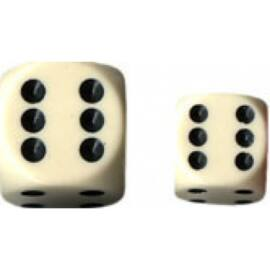 Chessex Opaque 16mm d6 with pips Dice Blocks (12 Dice) - Ivory w/black