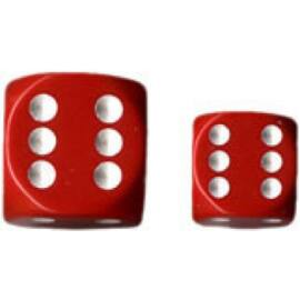 Chessex Opaque 16mm d6 with pips Dice Blocks (12 Dice) - Red w/white