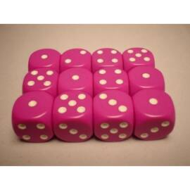 Chessex Opaque 16mm d6 with pips Dice Blocks (12 Dice) - Light Purple w/white