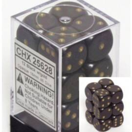Chessex Opaque 16mm d6 with pips Dice Blocks (12 Dice) - Black w/gold