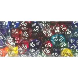 Chessex Translucent Bags of 50 Dice - Translucent Tens 10