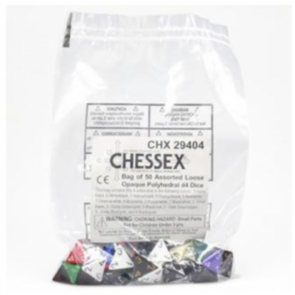 Chessex Opaque Bags of 50 Asst. Dice - Loose Opaque Polyhedral d4 Dice