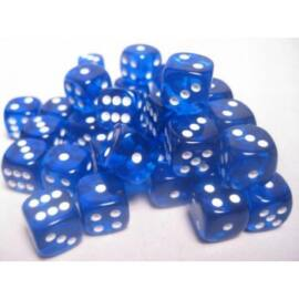 Chessex Translucent 12mm d6 with pips Dice Blocks (36 Dice) - Blue w/white