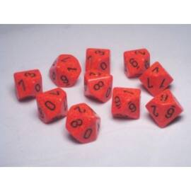 Chessex Speckled Polyhedral Ten d10 Set - Fire