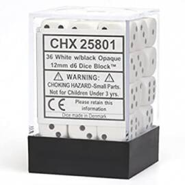 Chessex Opaque 12mm d6 with pips Dice Blocks (36 Dice) - White w/black
