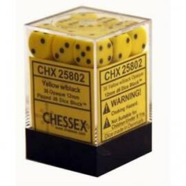Chessex Opaque 12mm d6 with pips Dice Blocks (36 Dice) - Yellow w/black