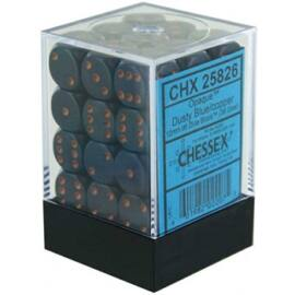 Chessex Opaque 12mm d6 with pips Dice Blocks (36 Dice) - Dusty Blue w/gold