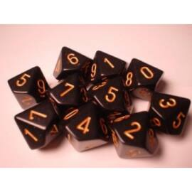Chessex Opaque Polyhedral Ten d10 Set - Black/gold