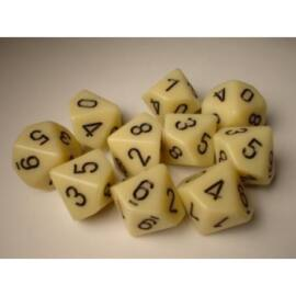 Chessex Opaque Polyhedral Ten d10 Set - Ivory/black