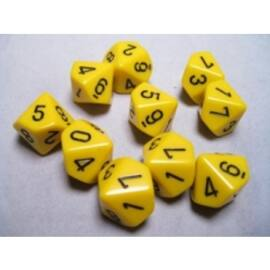 Chessex Opaque Polyhedral Ten d10 Set - Yellow/black