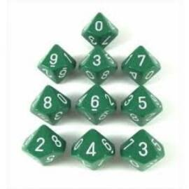 Chessex Opaque Polyhedral Ten d10 Set - Green/white