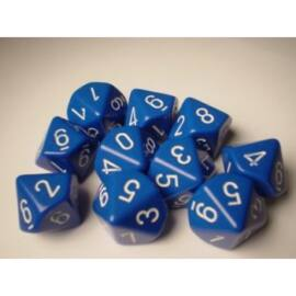 Chessex Opaque Polyhedral Ten d10 Set - Blue/white