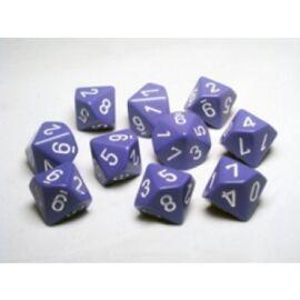 Chessex Opaque Polyhedral Ten d10 Set - Purple/white