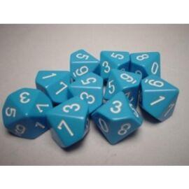 Chessex Opaque Polyhedral Ten d10 Set - Lt. Blue/white