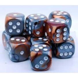 Chessex Gemini 16mm d6 with pips Dice Blocks (12 Dice) - Copper-Steel w/white