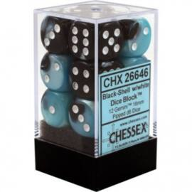 Chessex Gemini 16mm d6 with pips Dice Blocks (12 Dice) - Black-Shell w/white