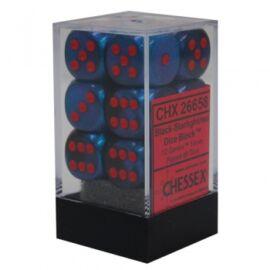 Chessex Gemini 16mm d6 with pips Dice Blocks (12 Dice) - Black-Starlight w/red