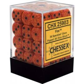 Chessex Speckled 12mm d6 Dice Blocks with Pips (36 Dice) - Fire