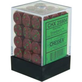 Chessex Speckled 12mm d6 Dice Blocks with Pips (36 Dice) - Strawberry