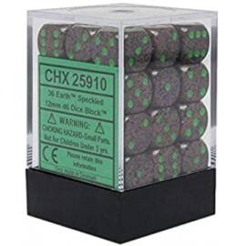Chessex Speckled 12mm d6 Dice Blocks with Pips (36 Dice) - Earth