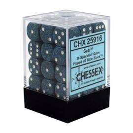 Chessex Speckled 12mm d6 Dice Blocks with Pips (36 Dice) - Sea