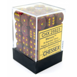Chessex Speckled 12mm d6 Dice Blocks with Pips (36 Dice) - Mercury