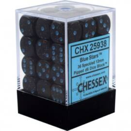 Chessex Speckled 12mm d6 Dice Blocks with Pips (36 Dice) - Blue Stars