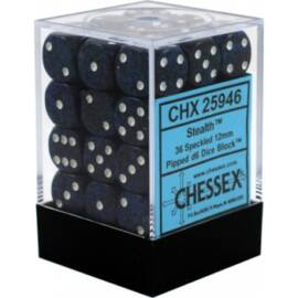 Chessex Speckled 12mm d6 Dice Blocks with Pips (36 Dice) - Stealth