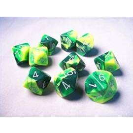 Chessex Gemini Polyhedral Ten d10 Sets - Green-Yellow w/silver