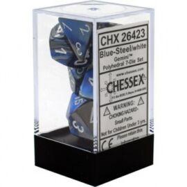 Chessex Gemini Polyhedral 7-Die Set - Blue-Steel w/white