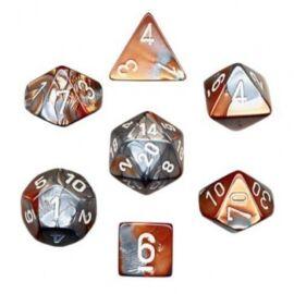 Chessex Gemini Polyhedral 7-Die Set - Copper-Steel w/white