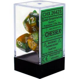 Chessex Gemini Polyhedral 7-Die Set - Gold-Green w/white