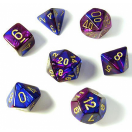 Chessex Gemini Polyhedral 7-Die Set - Blue-Purple w/gold