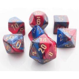 Chessex Gemini Polyhedral 7-Die Set - Blue-Red w/gold