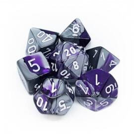 Chessex Gemini Polyhedral 7-Die Set - Purple-Steel w/white