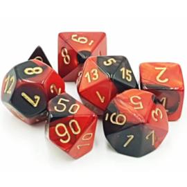 Chessex Gemini Polyhedral 7-Die Set - Black-Red w/gold