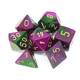Chessex Gemini Polyhedral 7-Die Set - Green-Purple w/gold