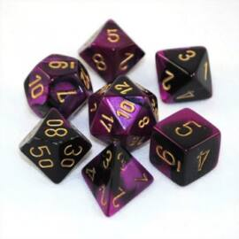 Chessex Gemini Polyhedral 7-Die Set - Black-Purple w/gold