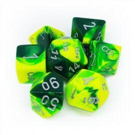 Chessex Gemini Polyhedral 7-Die Set - Green-Yellow w/silver