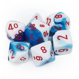 Chessex Gemini Polyhedral 7-Die Set - Astral Blue-White w/red