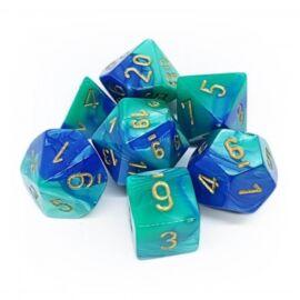 Chessex Gemini Polyhedral 7-Die Set - Blue-Teal w/gold